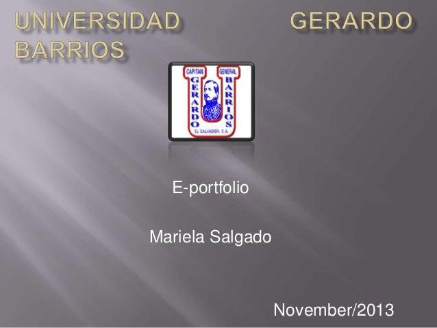 E-portfolio Mariela Salgado  November/2013