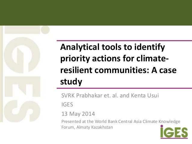 Analytical tools to identify priority actions for climate- resilient communities: A case study SVRK Prabhakar et. al. and ...
