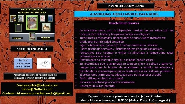 ALMOHADAS ARRULLADORAS PARA BEBESINVENTOR COLOMBIANOCaracterísticas Técnicas:• La almohada viene con un dispositivo musica...