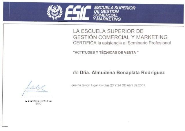 ESIC - Curso actitudes y técnicas de venta - 2001 certificado