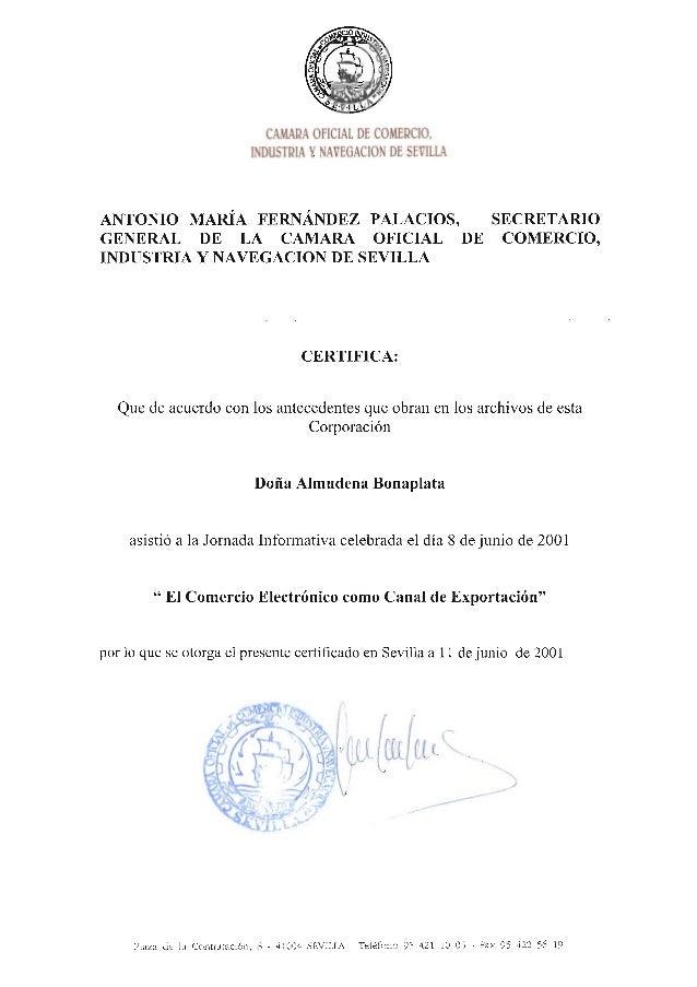 Cámara de Comercio - Seminario comercio electrónico como canal de exportación - 2001 certificado