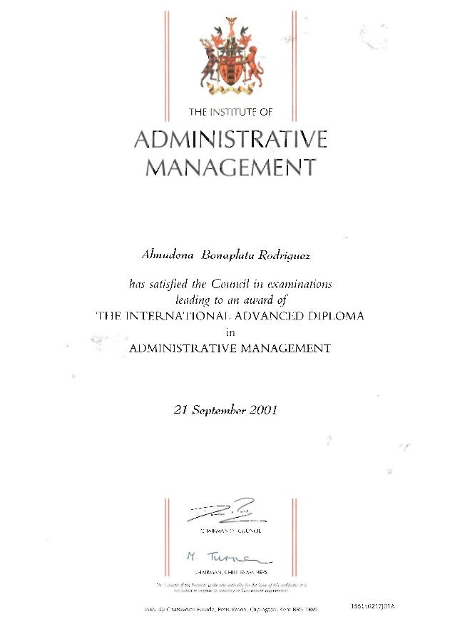 Institute of Administrative Management - international advanced diploma in administrative management - 2001 certificate