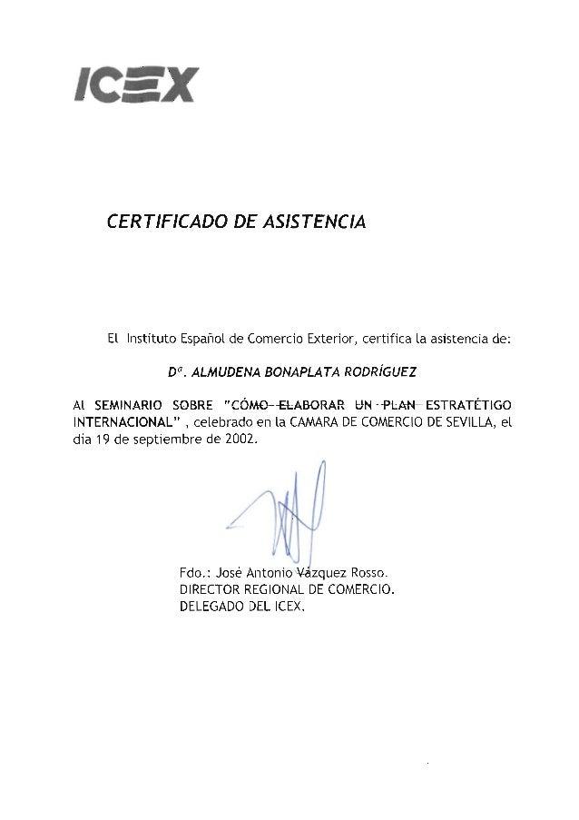 ICEX - Seminario plan estratégico internacional - 2002 certificado