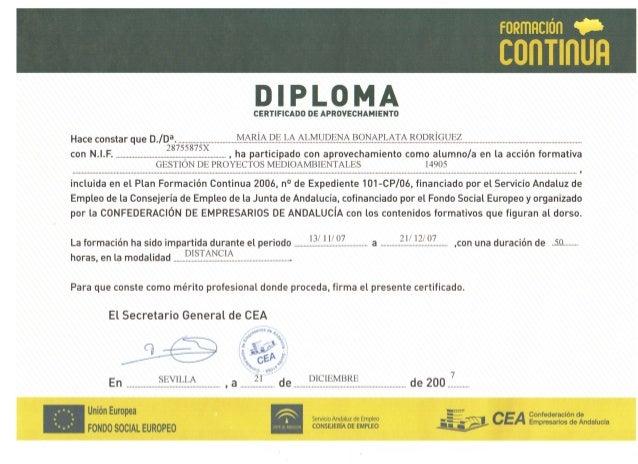 Confederación de Empresarios - Curso gestión proyectos medioambientales - 2007 certificado