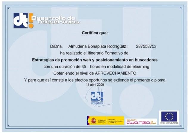 Avanza2 - Curso estrategias de promoción web y posicionamiento en buscadores - 2009 certificado