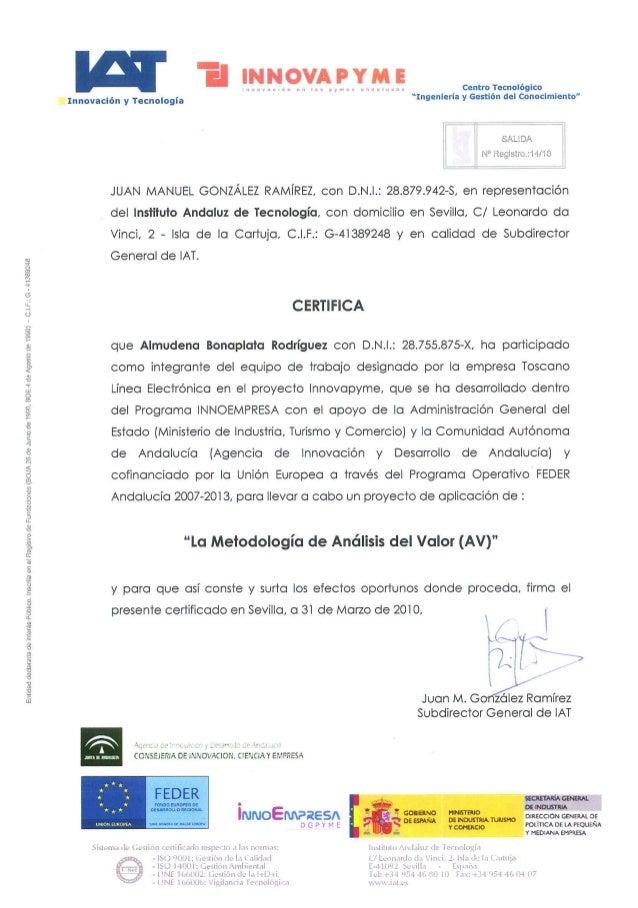 IAT - Curso metodología de análisis de valor - 2009 certificado