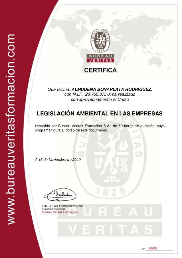 Bureau Veritas - Curso legislación ambiental en las empresas - 2010 certificado