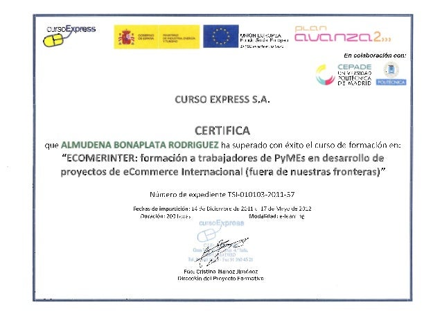 Cepade - Curso e-commerce internacional - 2012 certificado