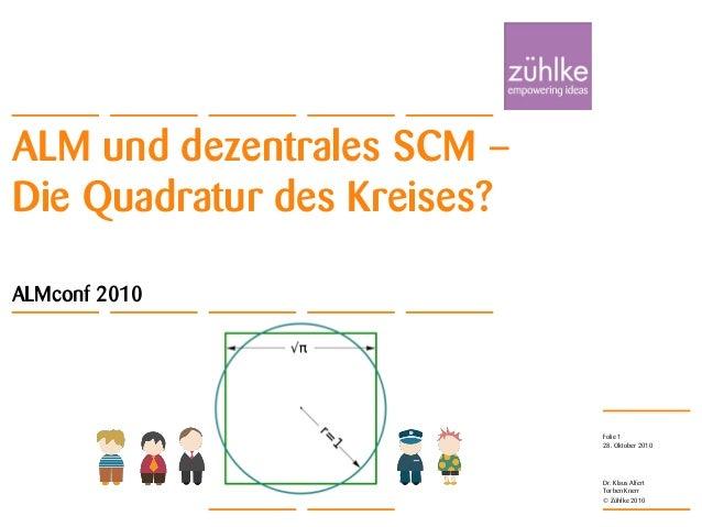 ALM und dezentrales SCM – Die Quadratur des Kreises? © Zühlke 2010 28. Oktober 2010 Dr. Klaus Alfert Torben Knerr Folie 1 ...