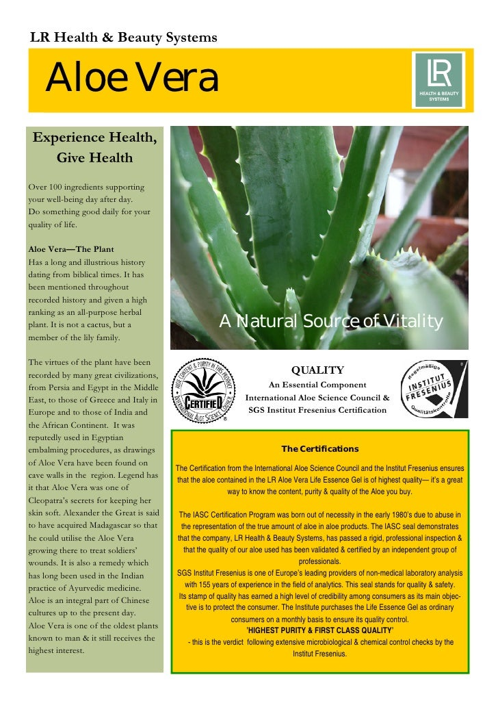 LR Health & Beauty Systems       Aloe Vera  Experience Health,     Give Health Over 100 ingredients supporting your well-b...