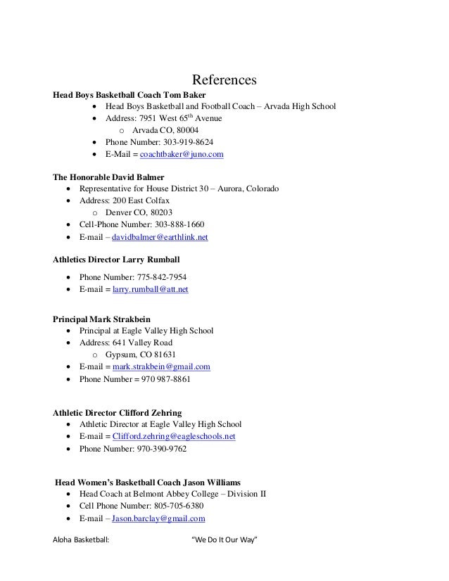 Basketball coach resume example