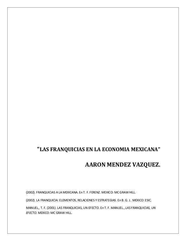 Franquicias en la economia mexicana.