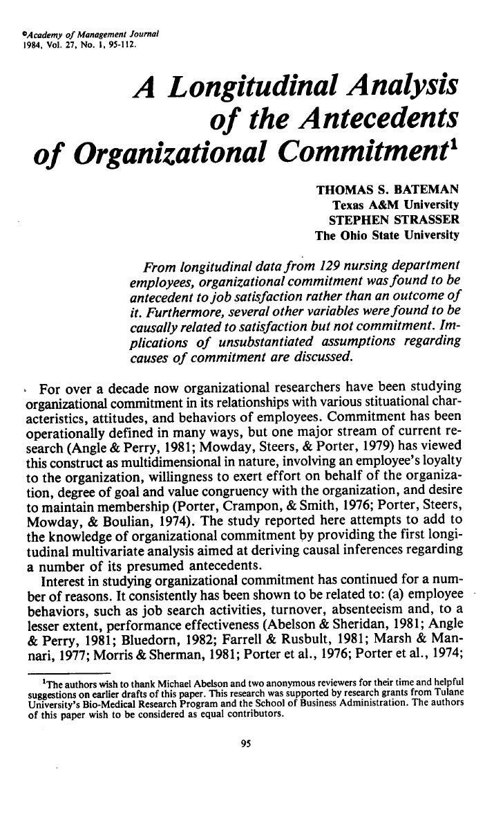 ^Academy of Management Joumai 1984, Vol. 27, No. 1,95-112.            A Longitudinal Analysis               of the Anteced...