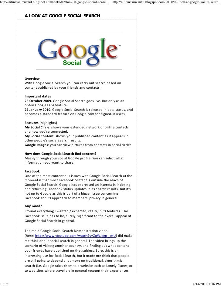 A look at google social search