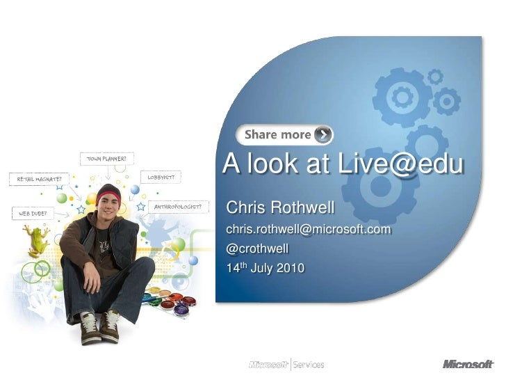 A look at Live@edu<br />Chris Rothwell<br />chris.rothwell@microsoft.com<br />@crothwell<br />14th July 2010<br />