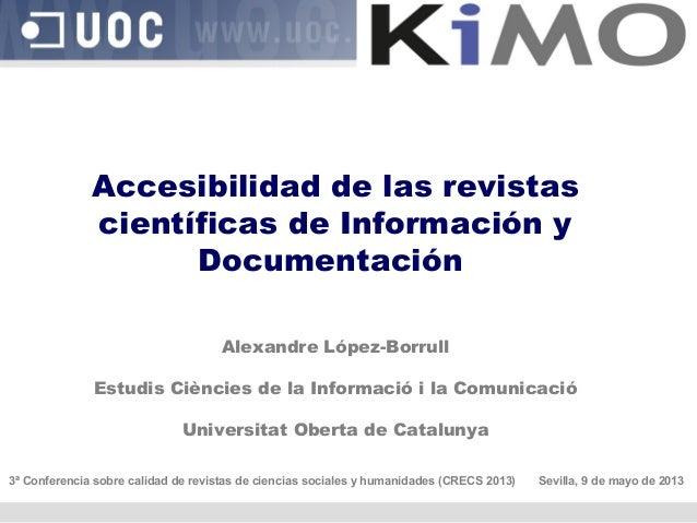 Accesibilidad de las revistas científicas de Información y Documentación