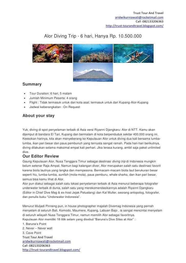 Alor diving trip 6 hari