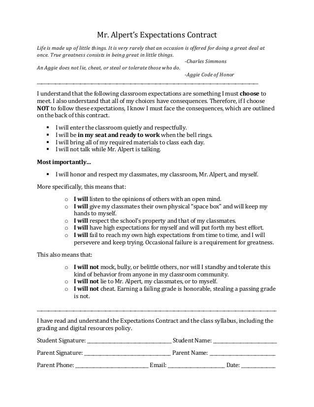 Alpert expectations contract '13 14