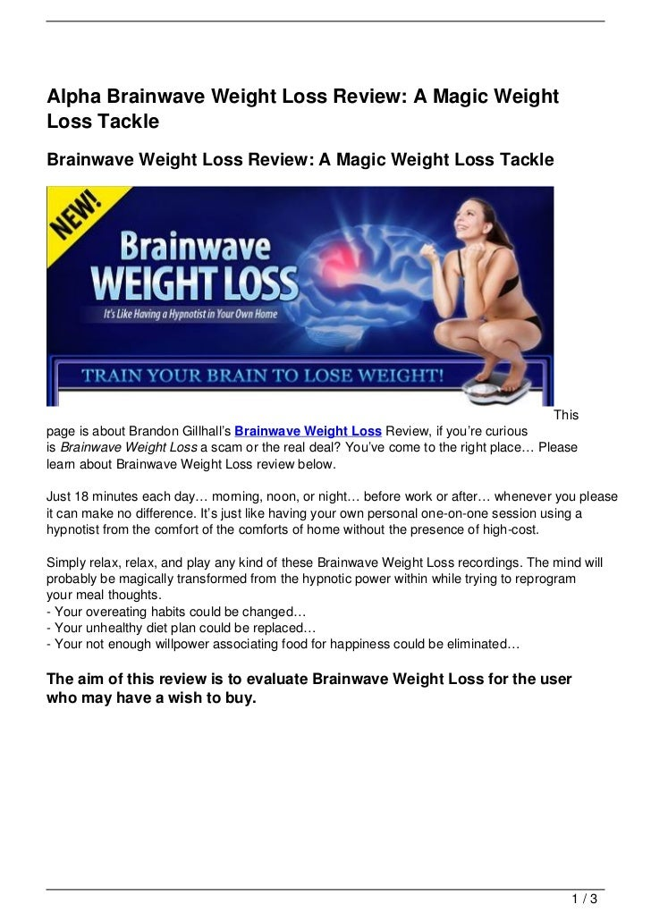 Alpha Brainwave Weight Loss Review: A Magic Weight Loss Tackle