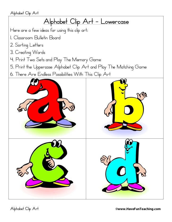 Alphabet Clip Art                    Alphabet Clip Art - LowercaseHere are a few ideas for using this clip art:1. Classroo...