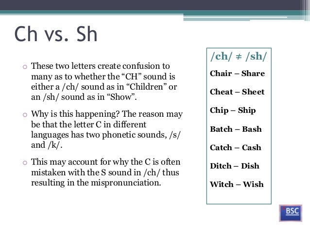 ch vs sho these two letters create confusion tomany as