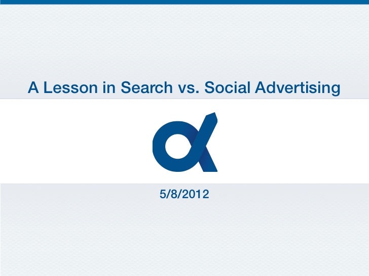 A Lesson in Search vs. Social Advertising!                        5/8/2012!!
