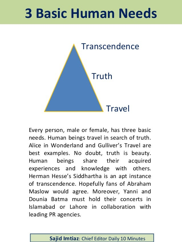 Basic Human Needs Travel Truth Transcendence Every person, male or female, has three basic needs. Human beings travel in s...