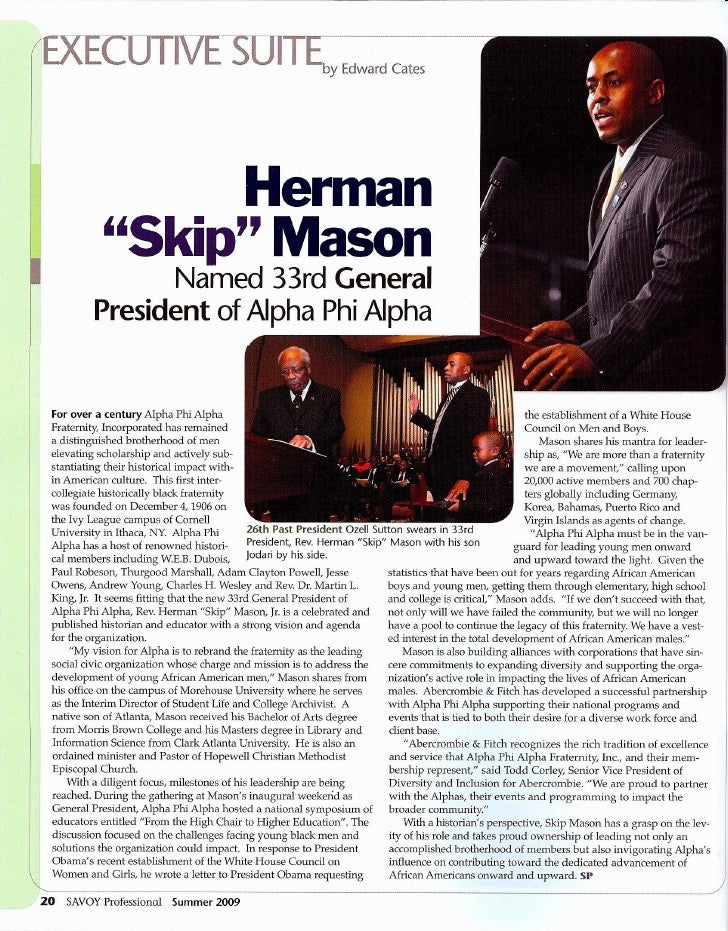 Alpha Phi Alpha 33rd General President Skip Mason - Savoy Professional (Summer 2009)