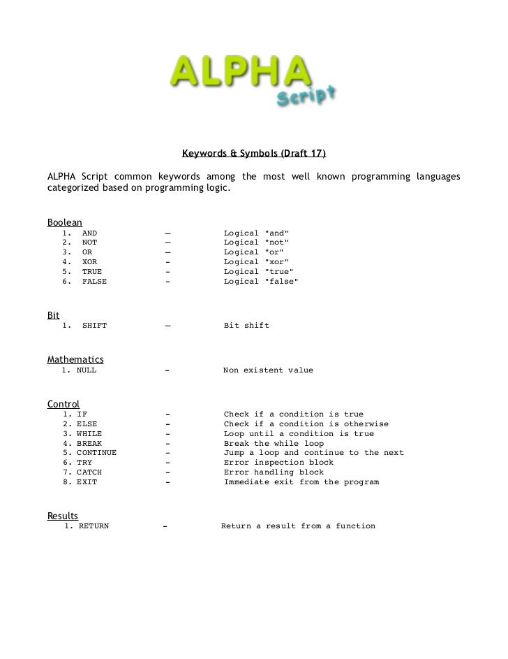 Keywords & Symbols (Draft 17)ALPHA Script common keywords among the most well known programming languagescategorized based...
