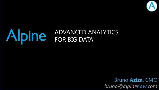 ADVANCED ANALYTICS FOR BIG DATA  Bruno Aziza, CMO bruno@alpinenow.com AlpineNow.com