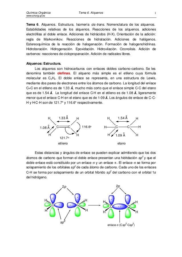 Alquenos y sus mecanismos de reaccion