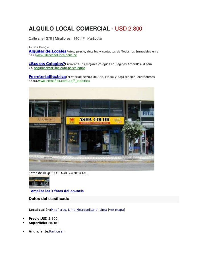 ALQUILO LOCAL COMERCIAL - USD 2.800Calle shell 370   Miraflores   140 m²   ParticularAvisos GoogleAlquiler de LocalesFotos...