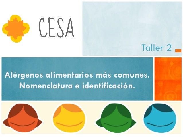 Taller 2Alérgenos alimentarios más comunes.    Nomenclatura e identificación.