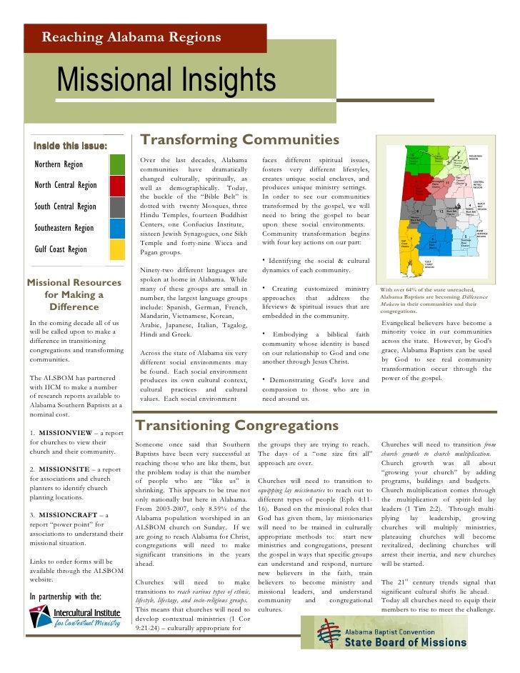 Reaching Alabama Regions            Missional Insights                                     Transforming Communities  Insid...