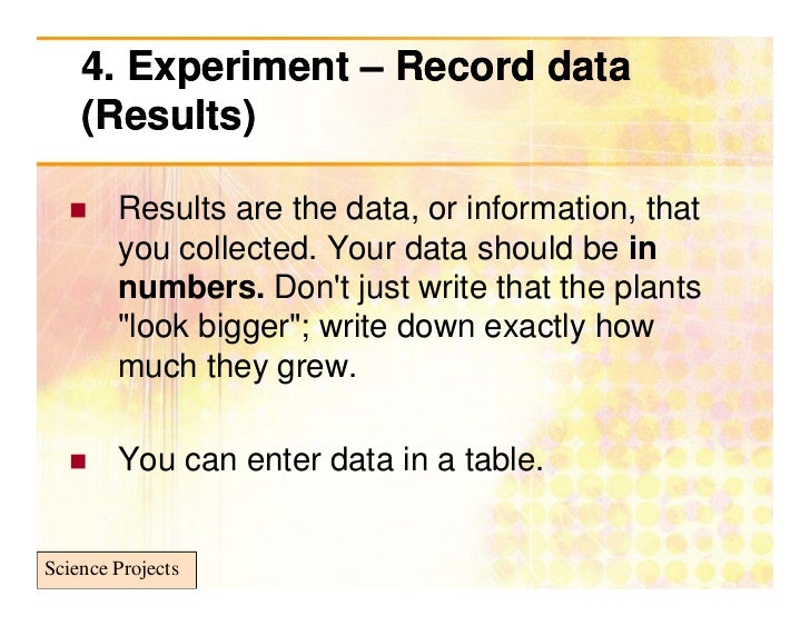 Science project how to write results