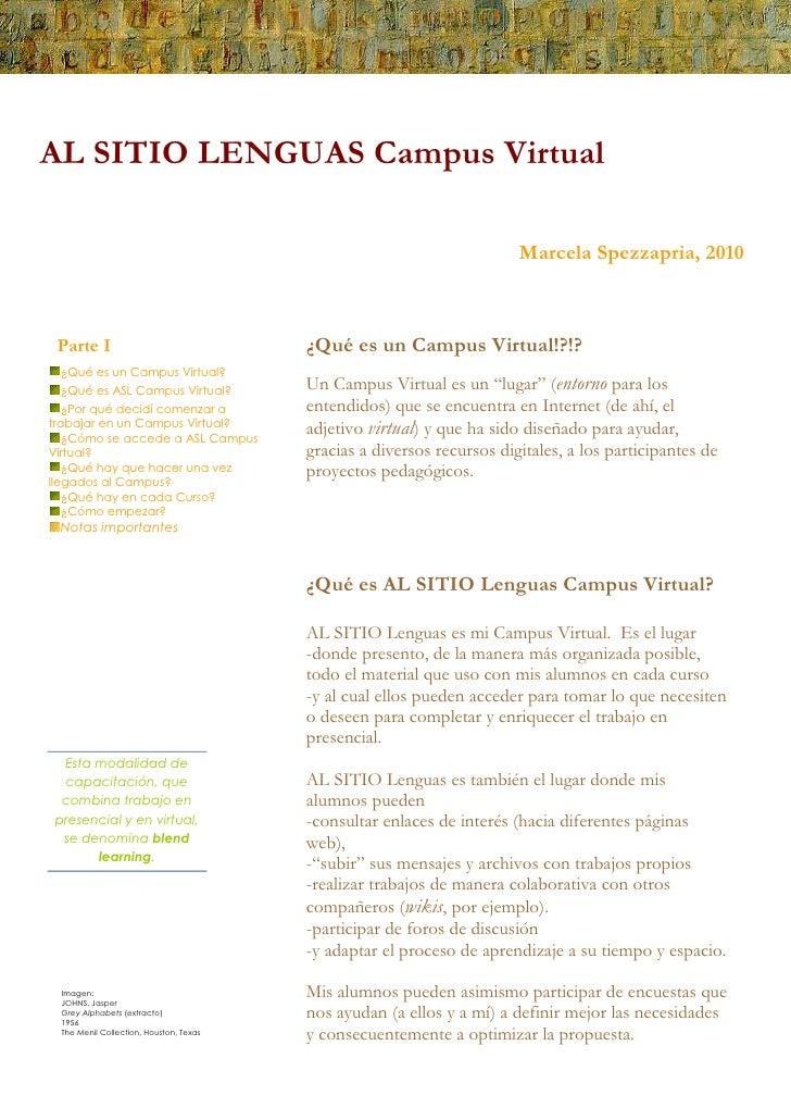AL SITIO Lenguas, Campus Virtual.  Prof. Marcela Spezzapria