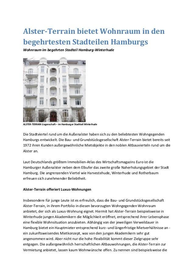 Alster-Terrain bietet Wohnraum in den begehrtesten Stadteilen Hamburgs Wohnraum im begehrten Stadteil Hamburg-Winterhude A...