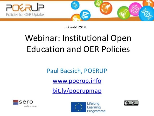 Institutional Open Education and OER Policies - a view from POERUP