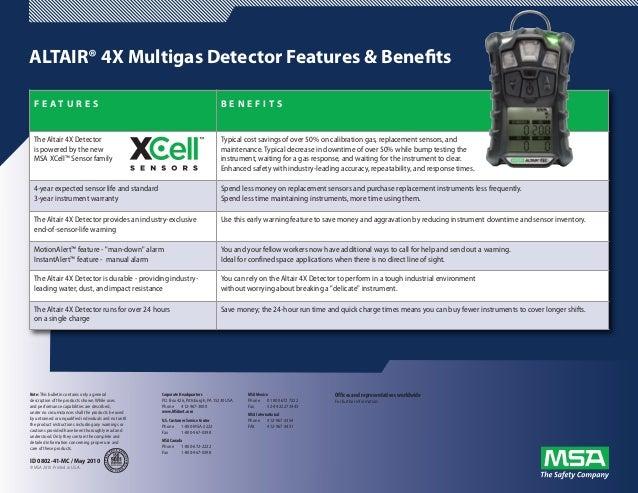 ALTAIR® 4X Multigas Detector Features & Benefits  F E AT U R E S                                                          ...