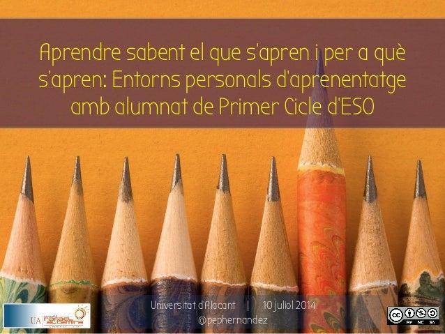 Universitat d'Alacant   10 juliol 2014 @pephernandez Aprendre sabent el que s'apren i per a què s'apren: Entorns personals...