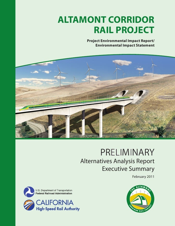 Altamont corridor rail project preliminary aa executive summary