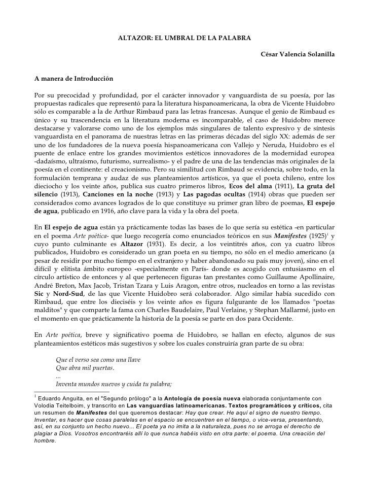 ALTAZOR: EL UMBRAL DE LA PALABRA                                                                                     César...