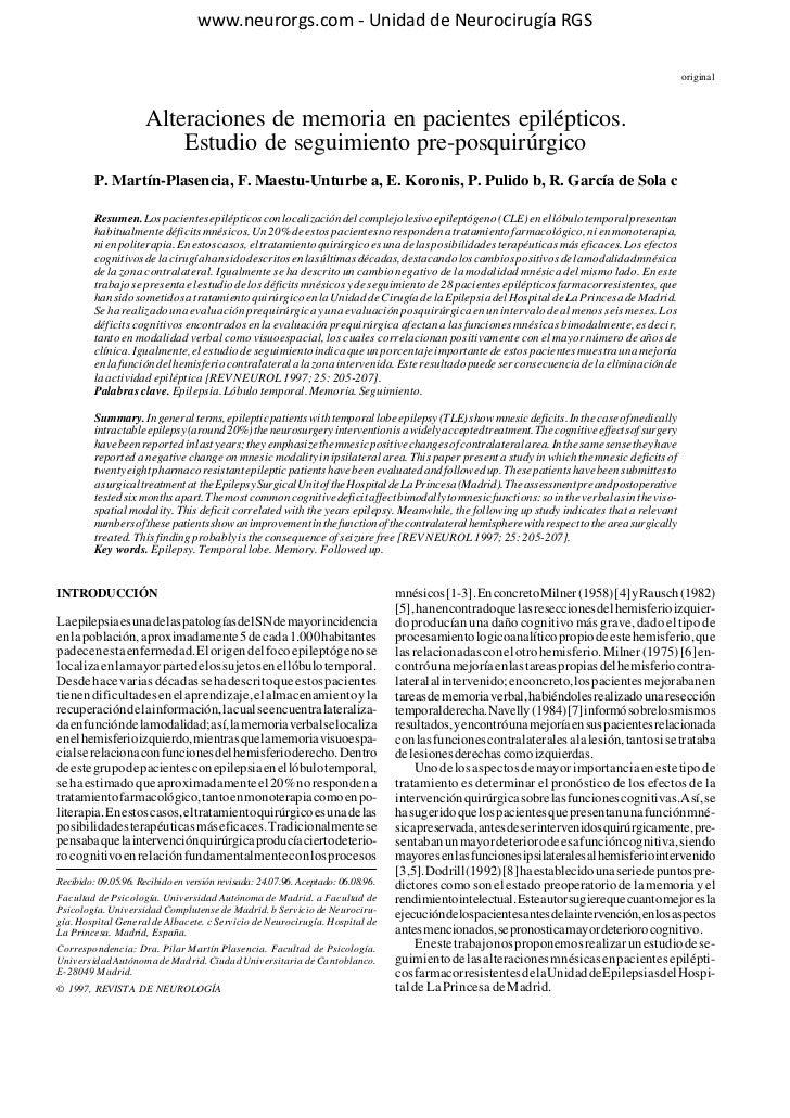 www.neurorgs.net -Alteraciones de memoria en pacientes epilépticos. Estudio de seguimiento pre-posquirúrgicoepilepsia