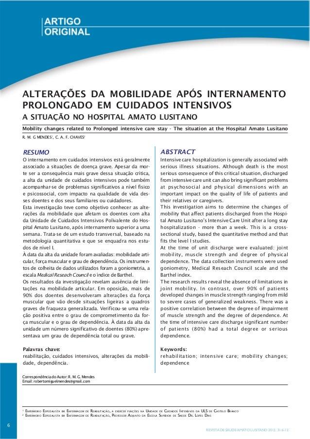 ALTERAÇÕES DA MOBILIDADE APÓS INTERNAMENTO    PROLONGADO EM CUIDADOS INTENSIVOS    A SITUAÇÃO NO HOSPITAL AMATO LUSITANO  ...
