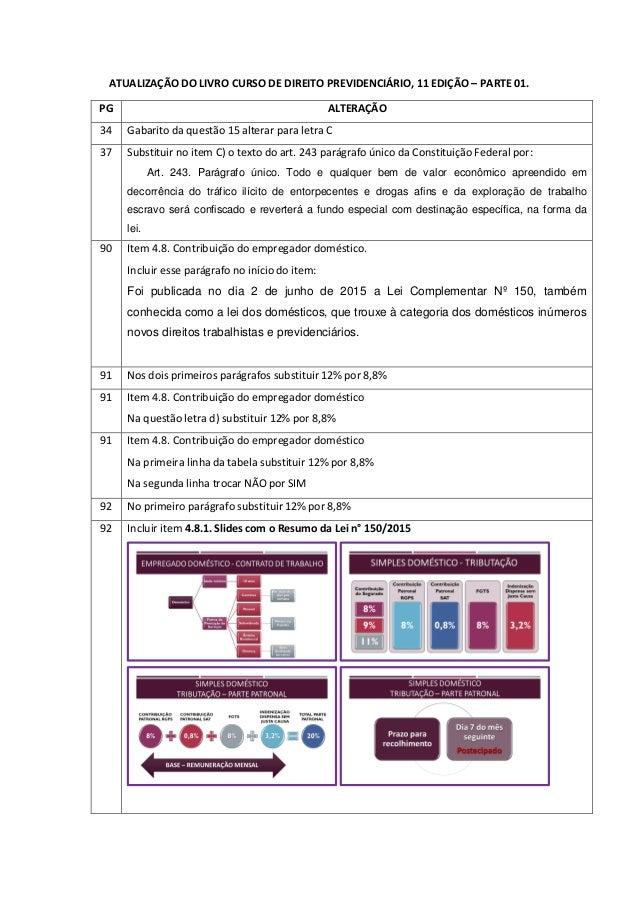 ATUALIZAÇÃO DO LIVRO CURSO DE DIREITO PREVIDENCIÁRIO, 11 EDIÇÃO – PARTE 01. PG ALTERAÇÃO 34 Gabarito da questão 15 alterar...