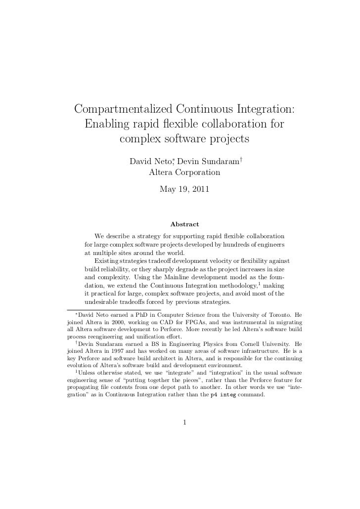 Compartmentalized Continuous Integration:   Enabling rapid flexible collaboration for         complex software projects    ...
