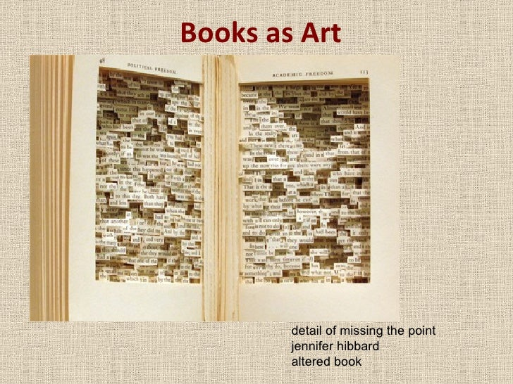 Books as Art detail of missing the point jennifer hibbard altered book