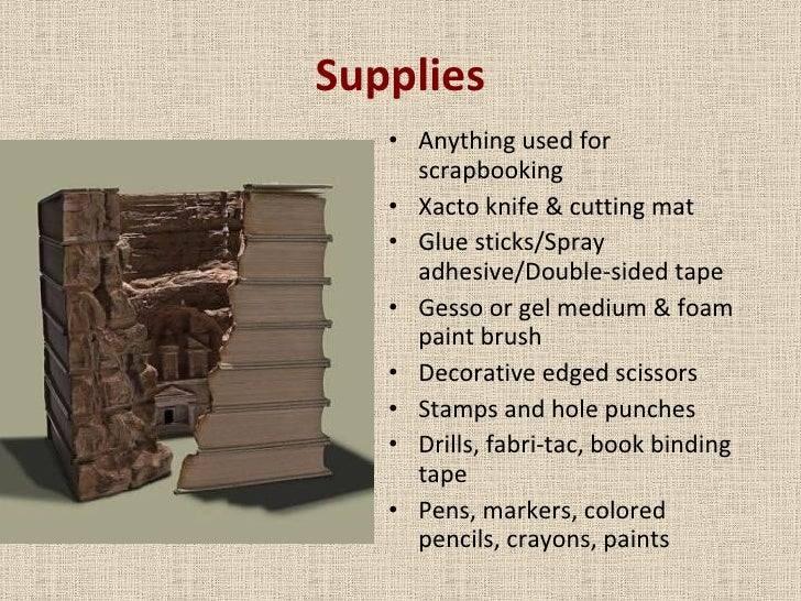 Supplies <ul><li>Anything used for scrapbooking </li></ul><ul><li>Xacto knife & cutting mat </li></ul><ul><li>Glue sticks/...