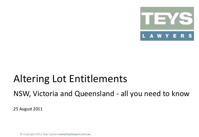 Altering Lot Entitlements Presentation