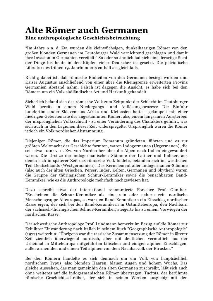 """Alte Römer auch GermanenEine anthropologische Geschichtsbetrachtung""""Im Jahre 9 n. d. Zw. wurden die kleinwüchsigen, dunkel..."""